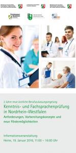 Infoveranstaltung Kenntnis- und Fachsprachprüfung in Nordrhein-Westfalen 19. Januar 2016