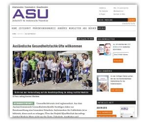 »Ausländische Gesundheitsfachkräfte willkommen« ASU 9 / 2018